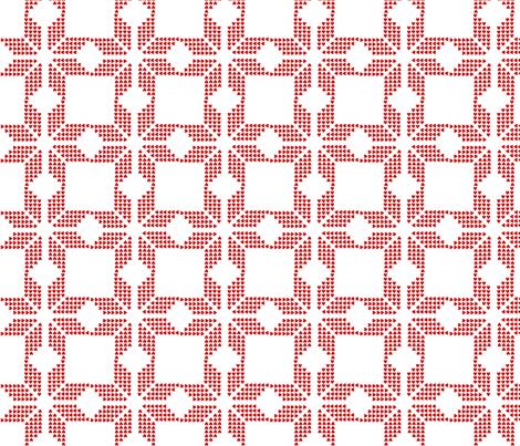 snowflake white red fabric by katarina on Spoonflower - custom fabric