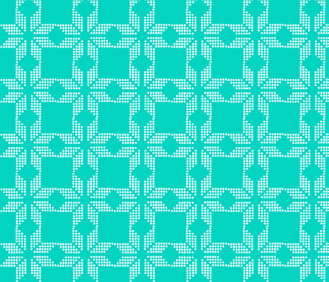 snowflake aqua fabric by katarina on Spoonflower - custom fabric