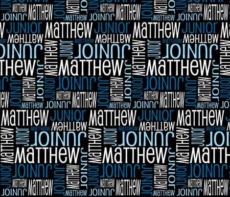 Personalised Name Fabric - Black and Blues fabric by shelleymade on Spoonflower - custom fabric