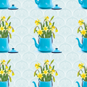 Vintage Tin Kettle With Daffodils On A Ginkgo Background