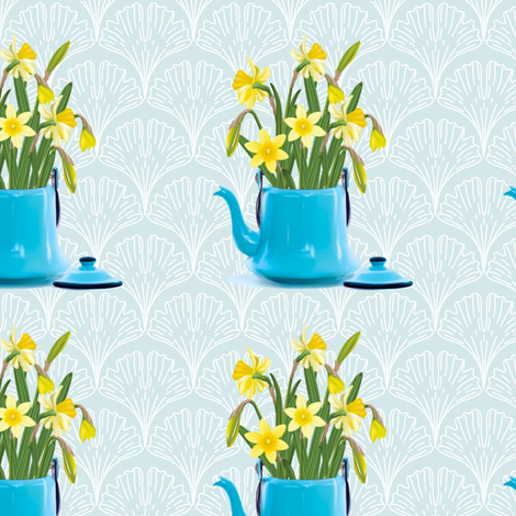 Vintage Tin Kettle With Daffodils On A Ginkgo Background fabric by diane555 on Spoonflower - custom fabric