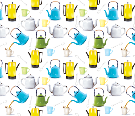 Vintage Tin Kettles and Coffee Pots fabric by diane555 on Spoonflower - custom fabric