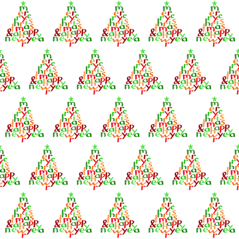 Merry Christmas - tree fabric by greennote on Spoonflower - custom fabric