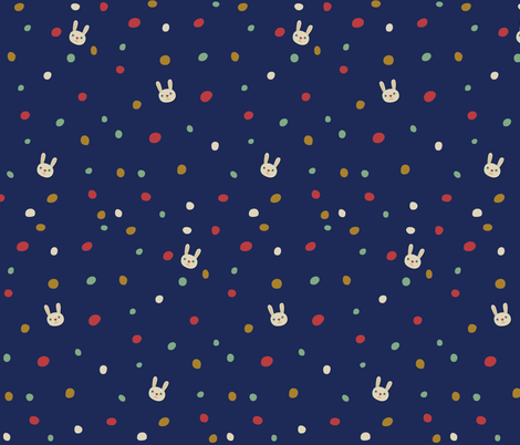 dotty bunny on Navy fabric by marilynpatrizio on Spoonflower - custom fabric