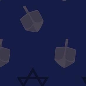 Blue Hanukkah Dreidel