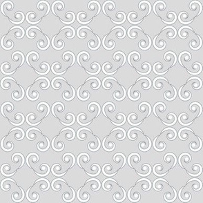 Dotted Swirls in White and Gray