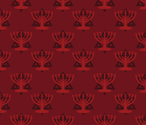 Red Hanukkah Menorah fabric by indelibleink on Spoonflower - custom fabric