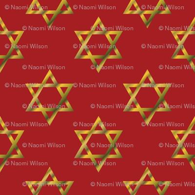 Red Hanukkah Star of David