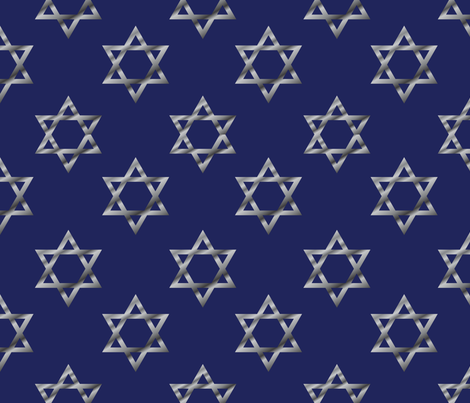 Blue and Silver Hanukkah Star of David fabric by indelibleink on Spoonflower - custom fabric