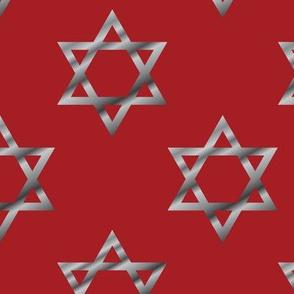 Red and Silver Hanukkah Star of David