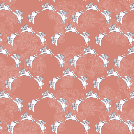 scallop bunnies - small scale fabric by nature_guild on Spoonflower - custom fabric