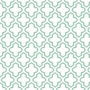 Hollow Moroccan Quatrefoil in Mint Green - Small