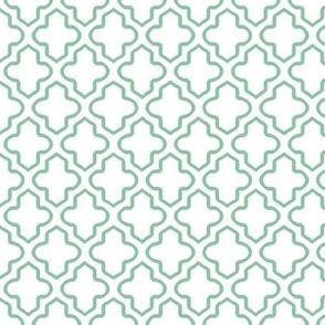 Hollow Moroccan Quatrefoil in Mint Green - Small