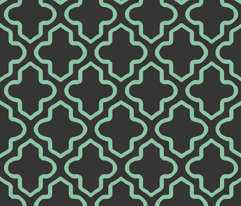 Hollow Moroccan in Mint and Black fabric by pearl&phire on Spoonflower - custom fabric