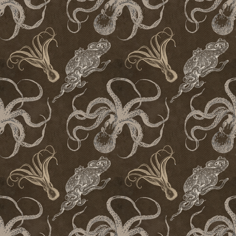 steampunk octopus print fabric by trollop on Spoonflower - custom fabric