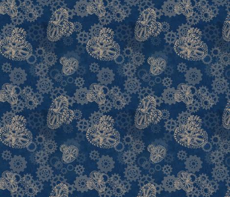 Gear Blue fabric by trollop on Spoonflower - custom fabric