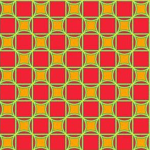Tiles in Red Orange Green and Blue