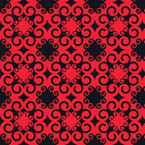 Modern Swirls in Red and Black