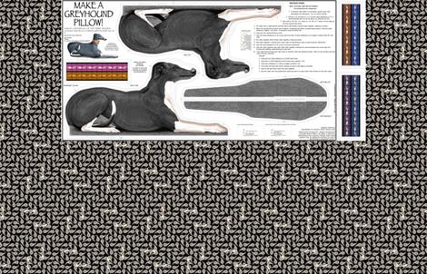 Black Tuxedo Greyhound kit, vers B -female fabric by artbyjanewalker on Spoonflower - custom fabric