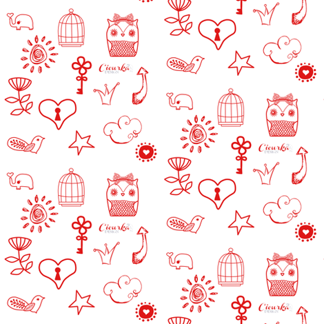 Miscellany Love red on white fabric by cicurka on Spoonflower - custom fabric