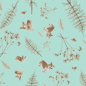 corgi and botanicals print - ice blue