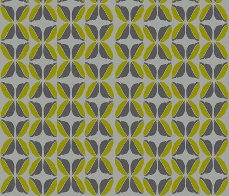 FeatherLeavesGrayCitron fabric by roxanne_lasky on Spoonflower - custom fabric