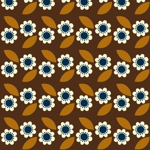 little retro flower brown