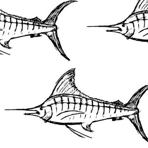 Black and White Marlin Drawing