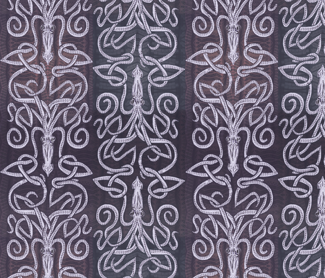 Kraken Squid in Deep Purple fabric by wren_leyland on Spoonflower - custom fabric