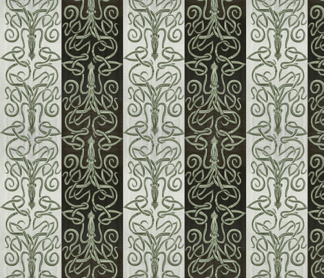 Kraken Squid - Ink   fabric by wren_leyland on Spoonflower - custom fabric