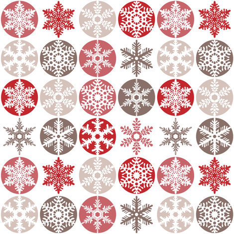 Snowflakes - candy cane colours fabric by ebygomm on Spoonflower - custom fabric