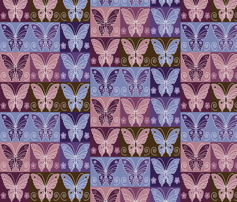Butterfly multi-swatch - peach-rose-eggplant-purple-periwinkle-brown fabric by mina on Spoonflower - custom fabric