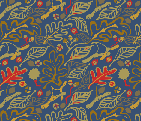 Fall Fauves - Nuts and Leaves fabric by wren_leyland on Spoonflower - custom fabric