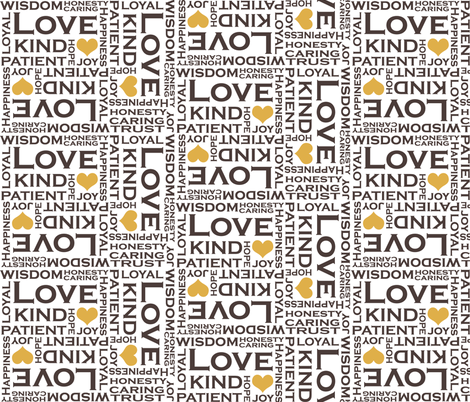 Love is Everything - with Tan Hearts fabric by pearl&phire on Spoonflower - custom fabric