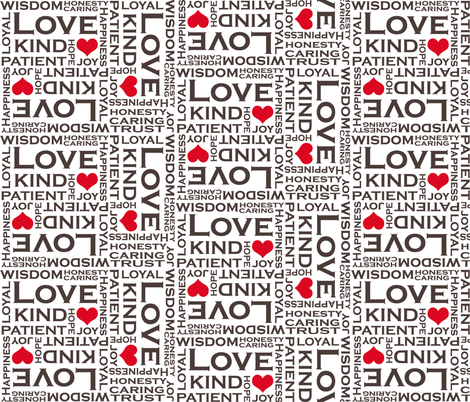 Love is Everything - with Red Hearts fabric by pearl&phire on Spoonflower - custom fabric