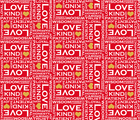 Love is Everything - Red and White fabric by fridabarlow on Spoonflower - custom fabric