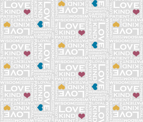 Love is Everything - in Gray Background fabric by fridabarlow on Spoonflower - custom fabric