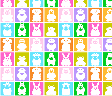 Animals multicolor fabric by pimpa on Spoonflower - custom fabric