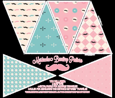 Mustachio Bunting Pattern fabric by bobbifox on Spoonflower - custom fabric