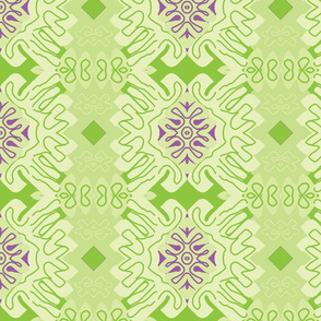 Damask Effect in Greens - Matisse-like Medallions