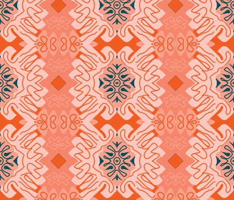 Damask Effect in Oranges - Matisse-like Medallions fabric by susaninparis on Spoonflower - custom fabric