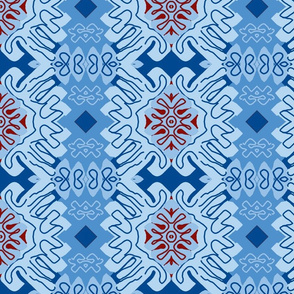 Damask Effect in Blues - Matisse-like Medallions