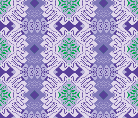 Damask Effect in Lavender - Matisse-like Medallions fabric by susaninparis on Spoonflower - custom fabric