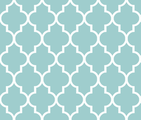 Blue and White Quatrefoil fabric by willowlanetextiles on Spoonflower - custom fabric