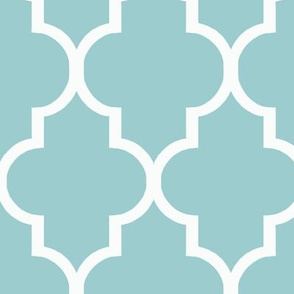 Blue and White Quatrefoil