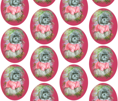 Havanese Dog in Pink Coat fabric by greerdesign on Spoonflower - custom fabric
