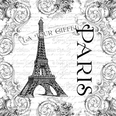 Paris Eiffel Tower and French Scrolls