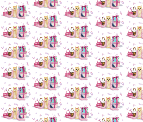 Yorkie and Her Purses fabric by greerdesign on Spoonflower - custom fabric
