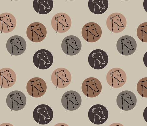Sighthounds- coffeebrown fabric by lobitos on Spoonflower - custom fabric