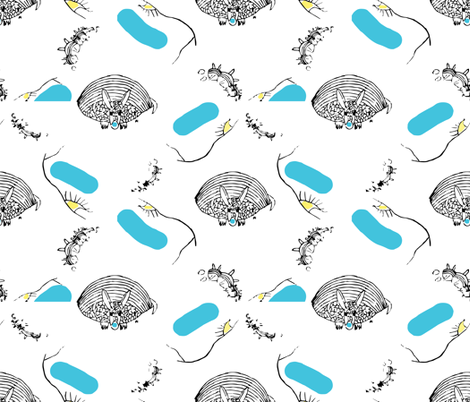 A Sketch of a Blue Nosed Armadillo fabric by anniedeb on Spoonflower - custom fabric